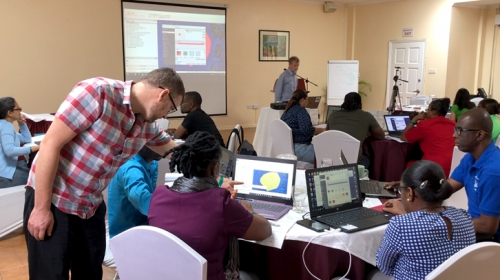Caribbean-based fisheries experts learn how to work with spatial climate change impact assessment data in an open-source geographic information system, QGIS, to support fisheries management and marine spatial planning.