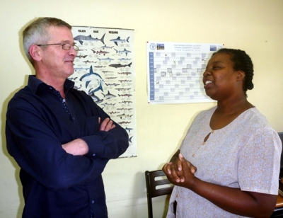 Dr. Einar Hjörleifsson (left) seen chatting with June Masters about plans and possibilities for supporting CRFM fisheries data experts.