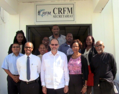 CARICOM Secretary General, Ambassador Irwin LaRocque, and Chef de Cabinet at the CARICOM Secretariat Ms Glenda Itiaba (front center) with CRFM staff at our headquarters in Belize City