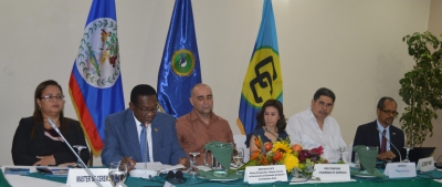 (From left to right) Beverly Wade, Master of Ceremonies, Fisheries Administrator, Belize; Hon. Eugene Hamilton, Chair of the CRFM Ministerial Council and Minister Responsible for Fisheries in Saint Kitts and Nevis; Hon. Dr. Omar Figueroa, Belize's Minister of State with responsibility for Fisheries; Norma Lobo, General Director for the Development of Fisheries and Aquaculture, El Salvador; Reinaldo Morales Rodríguez, Director Regional de OSPESCA; and Milton Haughton, Executive Director of the CRFM Secretariat